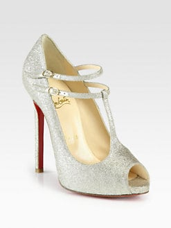 Christian Louboutin - Glitter Double-Strap Platform Pumps