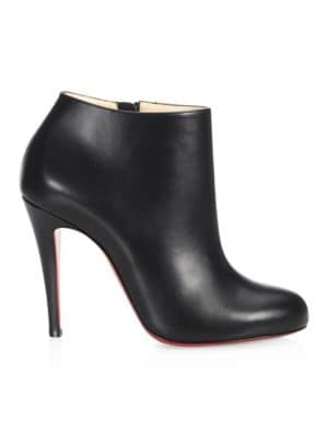 CHRISTIAN LOUBOUTIN NAPPA 100 SHINY LEATHER BOOTIES, BLACK