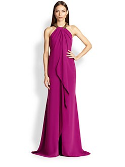 Carmen Marc Valvo - Crepe Jeweled-Collar Gown