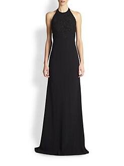 Carmen Marc Valvo - Lace-Appliqued Crepe Halter Gown