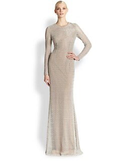 Carmen Marc Valvo - Long-Sleeve Lace Gown