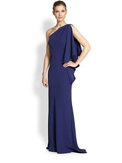 Carmen Marc Valvo - Crepe One-Shoulder Gown
