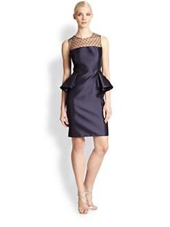 Carmen Marc Valvo - Point D'Esprit Peplum Dress