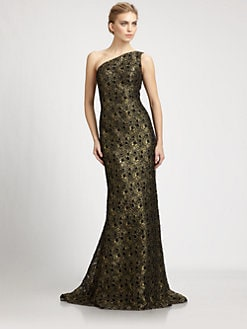 Carmen Marc Valvo - Metallic Lace Gown