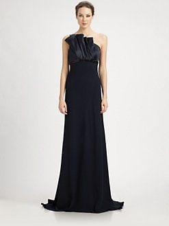 Carmen Marc Valvo - Beaded Bias Fold Gown
