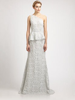 Carmen Marc Valvo - Lace Peplum Gown