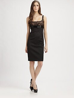 Carmen Marc Valvo - Lace Trimmed Brocade Cocktail Dress