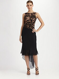 Carmen Marc Valvo - Beaded Silk Chiffon Dress
