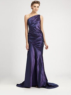 Carmen Marc Valvo - Asymmetrical Taffeta Gown