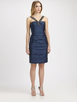 Carmen Marc Valvo - Beaded Silk Dress
