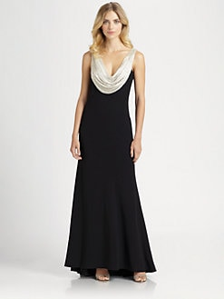 Carmen Marc Valvo - Beaded Cowl Devoree Gown