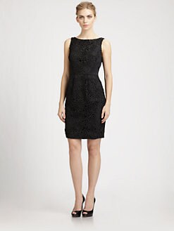 Carmen Marc Valvo - Satin Inset Lace Dress
