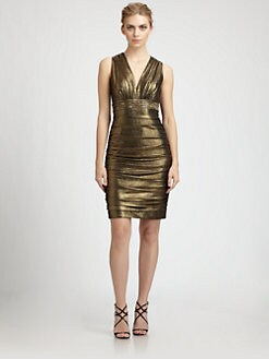 Carmen Marc Valvo - Beaded Metallic Dress