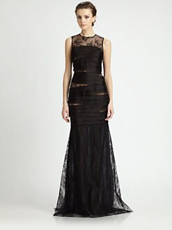 Carmen Marc Valvo - Lace Organza Gown