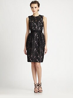 Carmen Marc Valvo - Ribbon-Trimmed Lace Dress