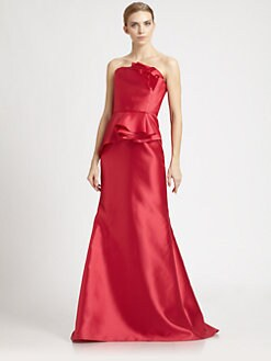 Carmen Marc Valvo - Strapless Peplum Gown