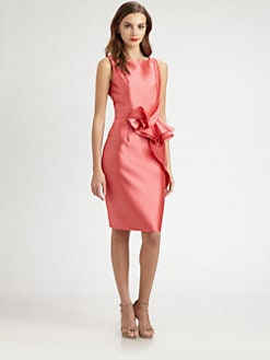 Carmen Marc Valvo - Ruffle-Front Twill Dress