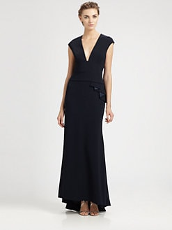 Carmen Marc Valvo - Cap-Sleeve Crepe Gown