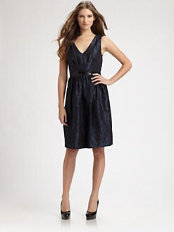 Carmen Marc Valvo - Beaded Jacquard Dress
