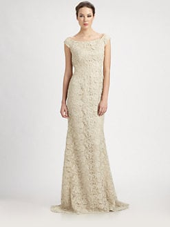 Carmen Marc Valvo - Cap-Sleeve Lace Gown