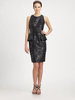 Carmen Marc Valvo - Brocade Peplum Dress