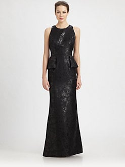 Carmen Marc Valvo - Brocade Peplum Gown
