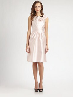 Carmen Marc Valvo - Lace-Trimmed Twill Dress