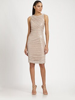 Carmen Marc Valvo - Sequined Lace Dress