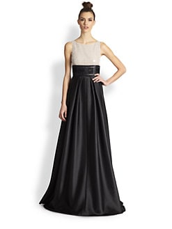 Carmen Marc Valvo - Sequin Lace & Twill Combo Gown