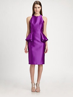 Carmen Marc Valvo - Twill Peplum Dress