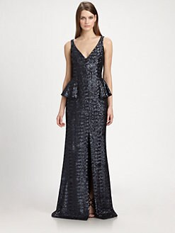 Carmen Marc Valvo - Sequined Peplum Gown