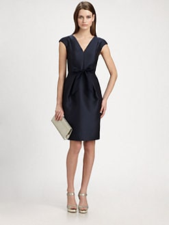 Carmen Marc Valvo - Satin Piqu&eacute; Bow Dress