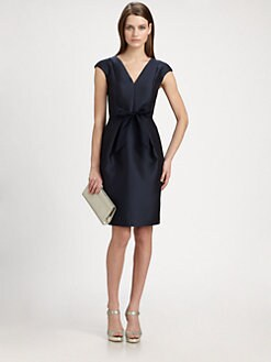 Carmen Marc Valvo - Satin Piqué Bow Dress