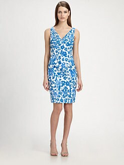 Carmen Marc Valvo - Printed Eyelet Dress