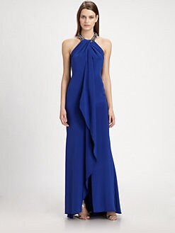 Carmen Marc Valvo - Silk Halter Gown