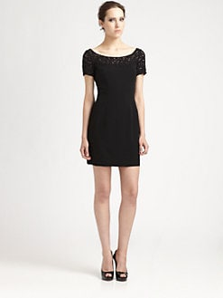 Carmen Marc Valvo - Lace-Trimmed Dress