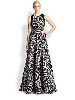Carmen Marc Valvo - Printed Silk Gazar Gown