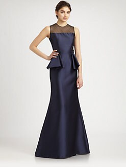 Carmen Marc Valvo - Lace-Trimmed Taffeta Gown
