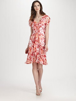 Carmen Marc Valvo - Silk Ruffle Dress