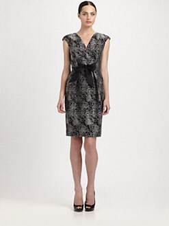 Carmen Marc Valvo - Tie-Front Jacquard Dress