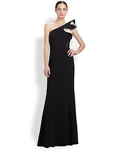Carmen Marc Valvo - One-Shoulder Ruffle Gown