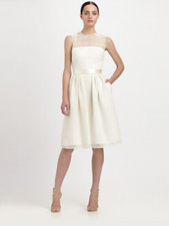 Carmen Marc Valvo - Sequined Lace Illusion Dress