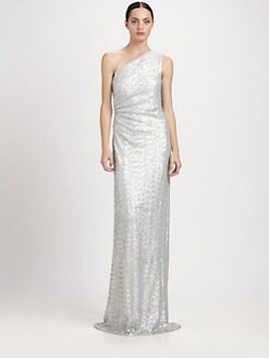 Carmen Marc Valvo - One-Shoulder Sequined Gown