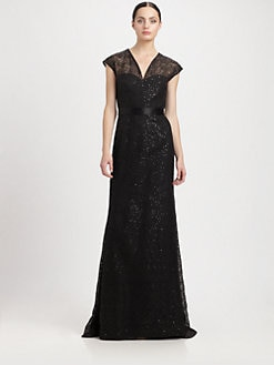 Carmen Marc Valvo - Sequined Lace Gown