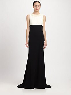 Carmen Marc Valvo - Beaded Crepe & Brocade Gown