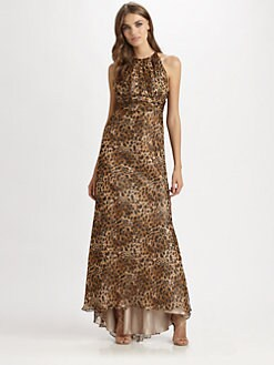 Carmen Marc Valvo - Silk Leopard Print Gown