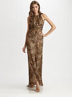 Carmen Marc Valvo - Silk Leopard Print Gown