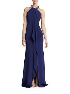 Carmen Marc Valvo - Sleeveless Silk Halter Gown