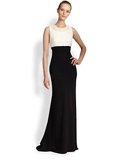 Carmen Marc Valvo - Sleeveless Bicolored Gown