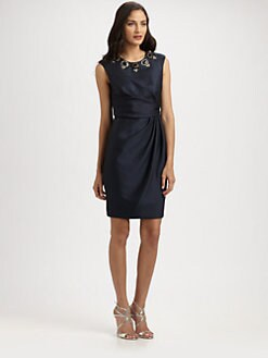 Carmen Marc Valvo - Beaded Satin Dress